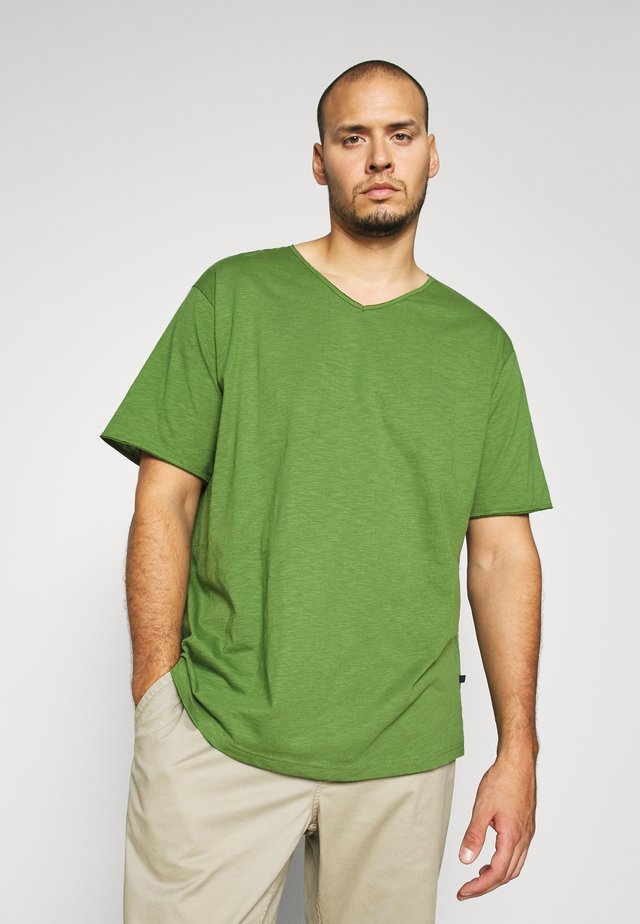 RAW VNECK SLUB TEE - T-shirt basique - oliv