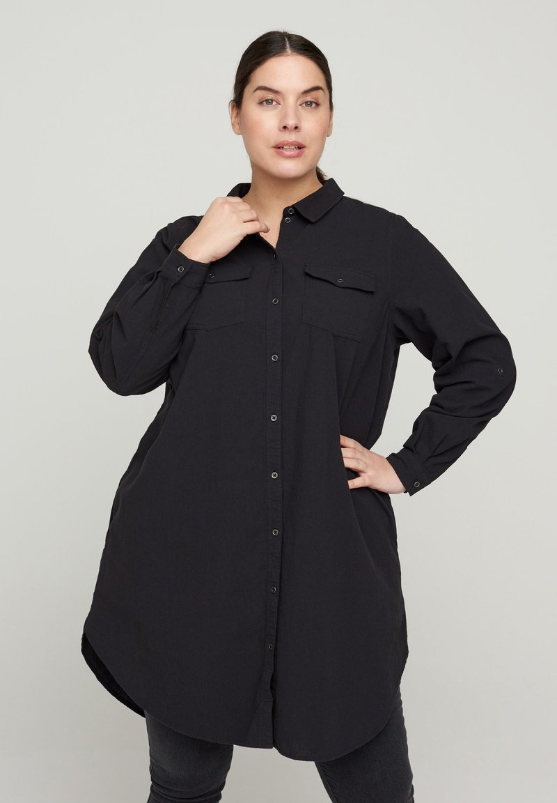 Zizzi - Button-down blouse - black