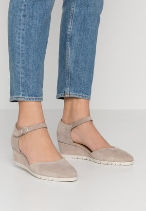 WOMS SLIP-ON - Wedges - taupe suede