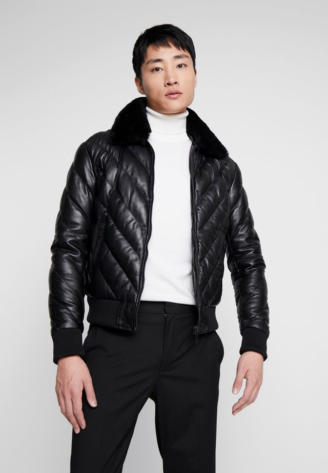 FLASH - Leather jacket - black