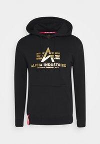Alpha Industries - HOODY FOIL PRINT - Hoodie - black / yellow gold - 4