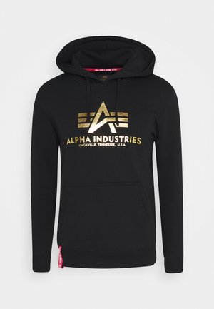 HOODY FOIL PRINT - Hoodie - black / yellow gold