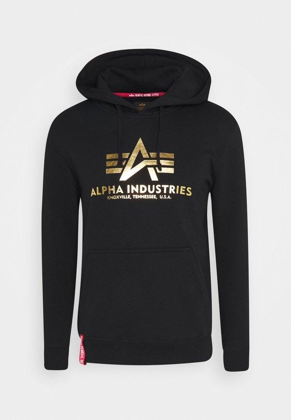 Alpha Industries HOODY FOIL PRINT - Bluza z kapturem - black / yellow gold/czarny Odzież Męska JVHP