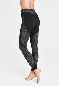 Wolford - CAMERON - Leggings - Stockings - black/white - 1