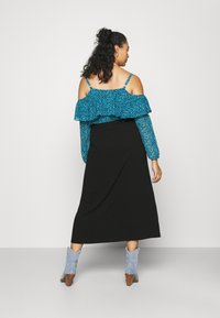 NU-IN - BUTTON UP MIDI SKIRT - A-line skirt - black - 2