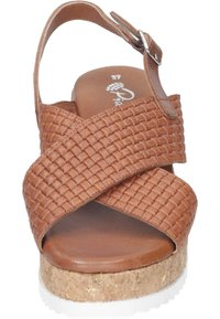 Piazza - Wedge sandals - cognac - 4