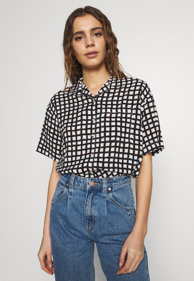 CROPPED HAWAIIAN - Button-down blouse - faded black