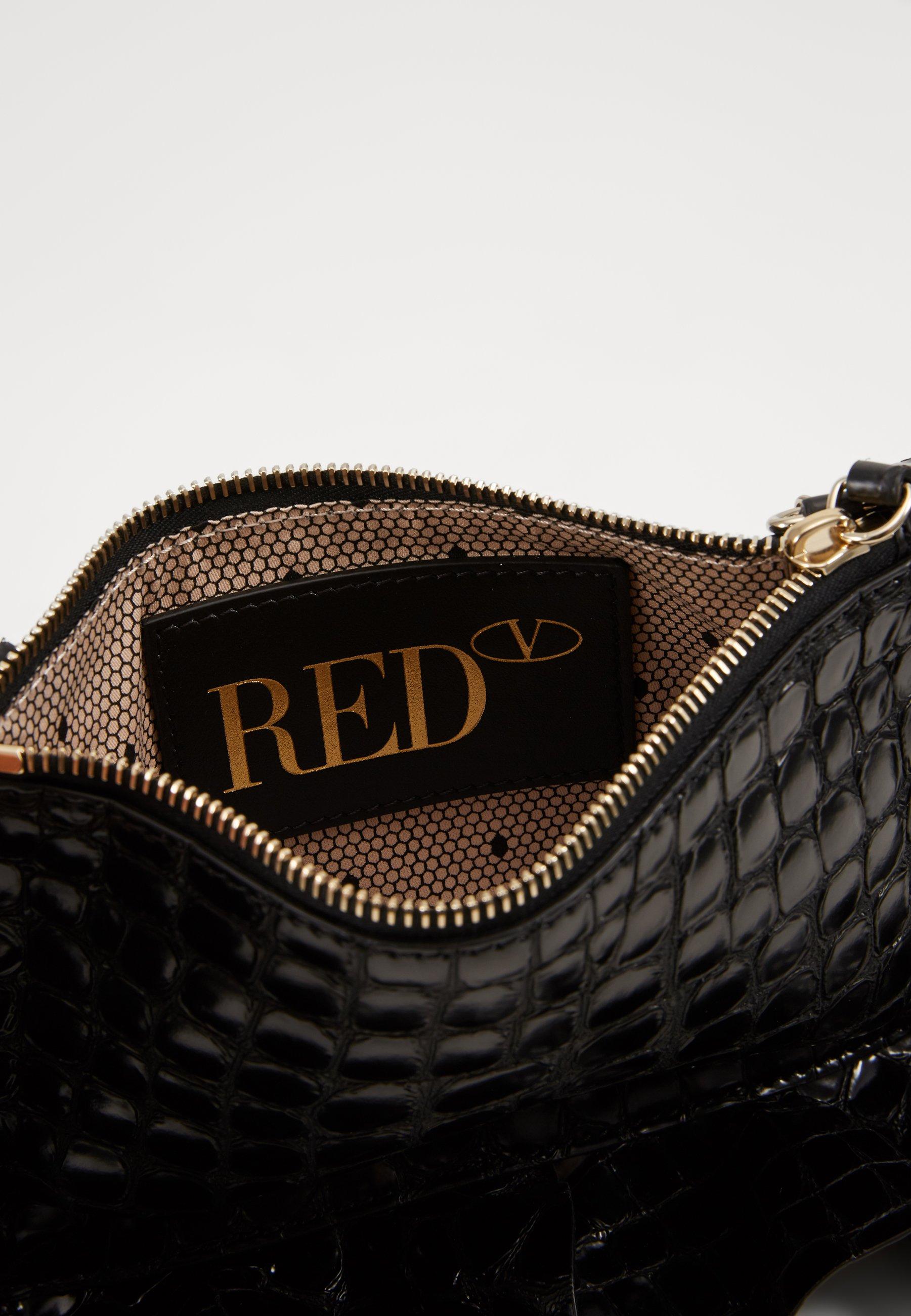 Red V CROCO RUFFLE WALLET ON CHAIN - Skulderveske - nero/svart zzcHZ7Uk7dqRPmW