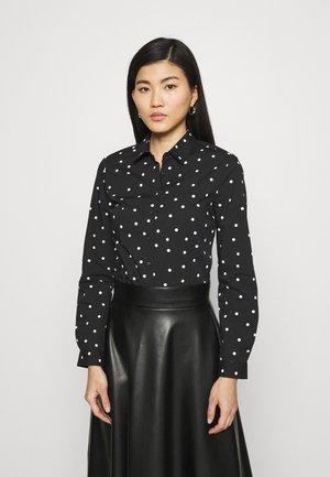 SPOT FITTED - Button-down blouse - black