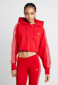 adidas Originals - ADICOLOR CROPPED HODDIE SWEAT - Luvtröja - red - 0