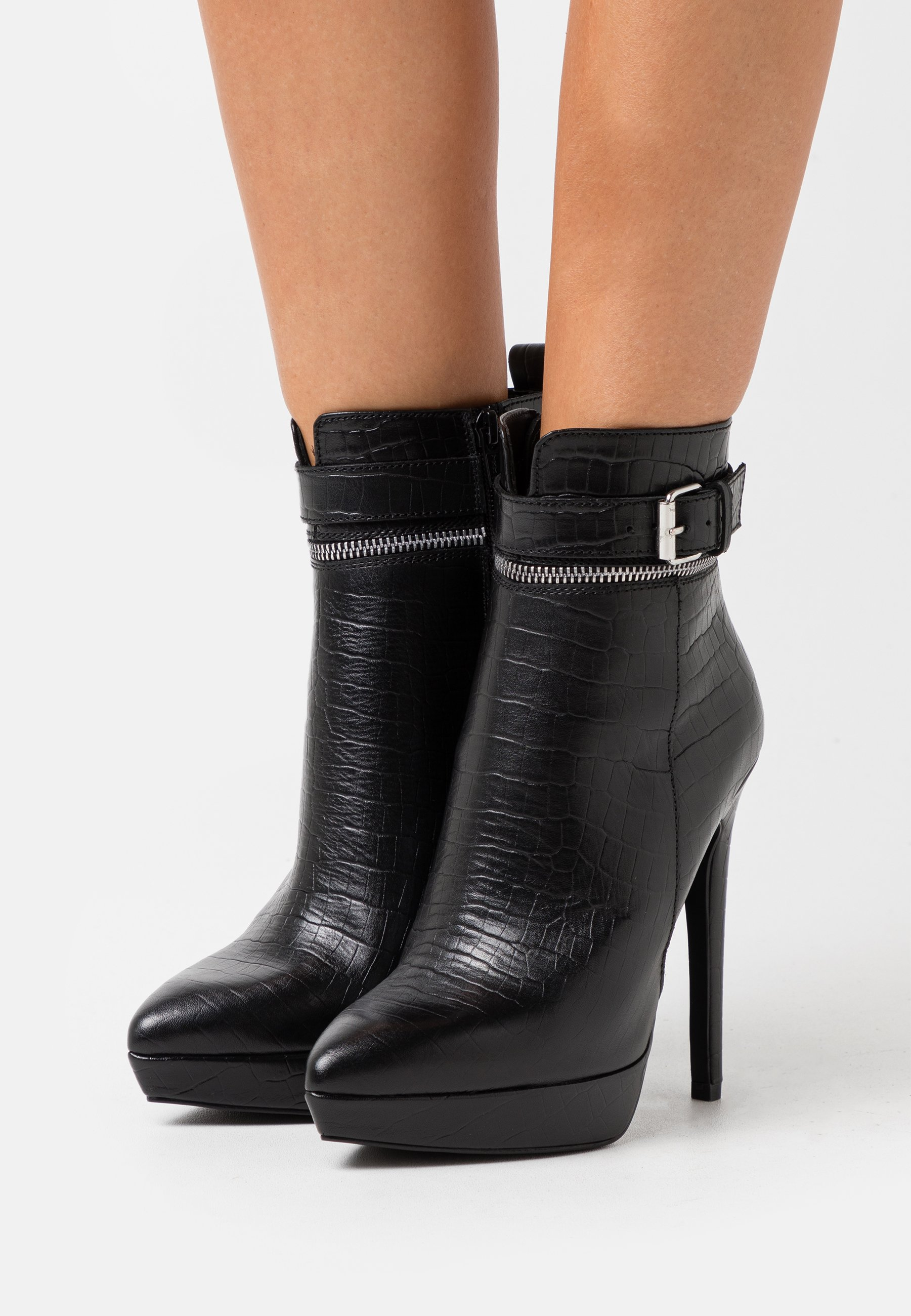 Women LEATHER - High heeled ankle boots - black