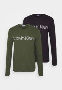 Calvin Klein - LONG SLEEVE 2 PACK - Long sleeved top - black/dark green - 0