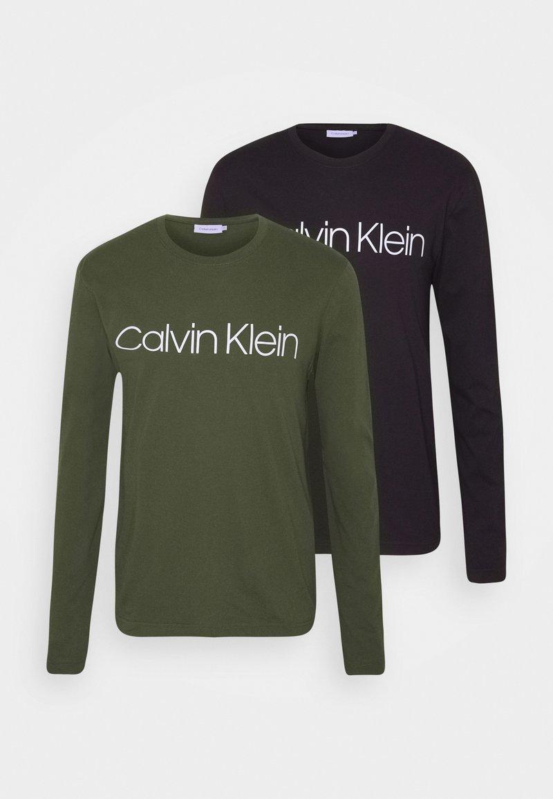 Calvin Klein - LONG SLEEVE 2 PACK - Long sleeved top - black/dark green