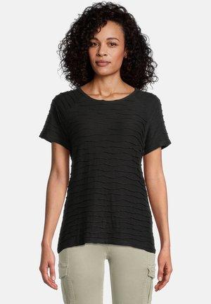 MIT WELLENSTRUKTUR - T-shirt print - schwarz