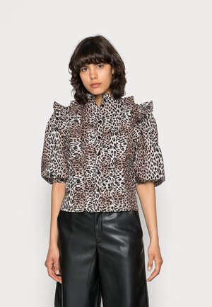 VICKY RUFFLE - Blouse - brown, beige