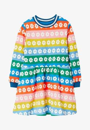 Day dress - regenbogenfarben, gestreift/gänseblümchen