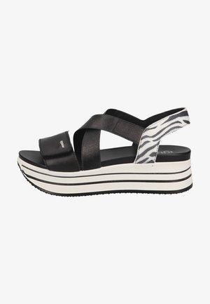 Sandalen met plateauzool - nero