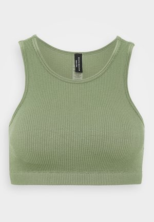 SEAMLESS HIGH NECK MUSCLE BACK TANK - Sports bra - light green