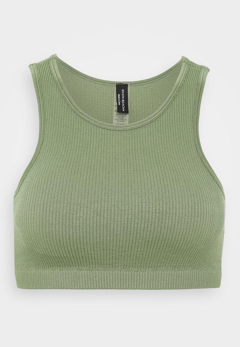 South Beach - SEAMLESS HIGH NECK MUSCLE BACK TANK - Light support sports bra - light green