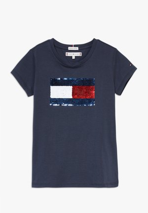 FLAG FLIP SEQUINS TEE - T-shirt con stampa - blue