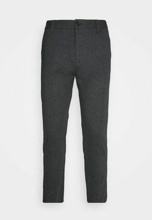 HERRINGBONE PANTS - Chinos - black