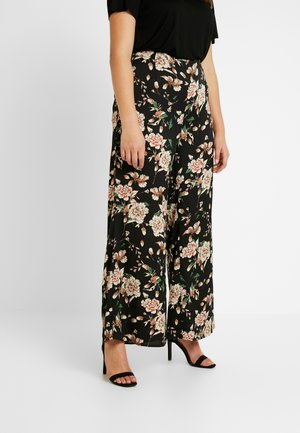 FLORAL TROUSER - Bukse - black
