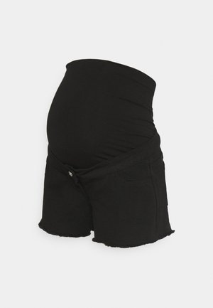 MATERNITY FRAYED HEM - Denim shorts - black