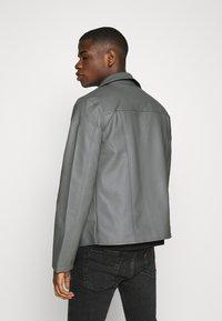 Nominal - HOODED BIKE JACKET - Faux leather jacket - grey - 3