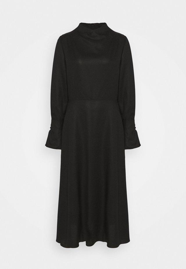 MIDI DRESS WITH BUTTON SLEEVE - Sukienka letnia - black