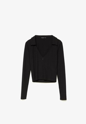 REISSVERSCHLUSS AM AUSSCHNITT - Polo shirt - black