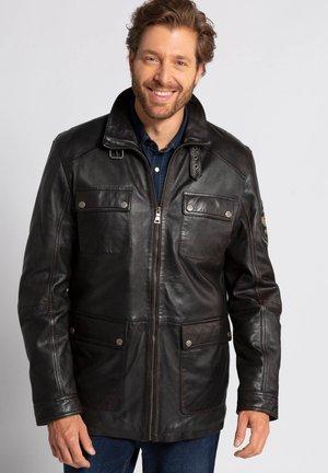 Leather jacket - schwarz-braun