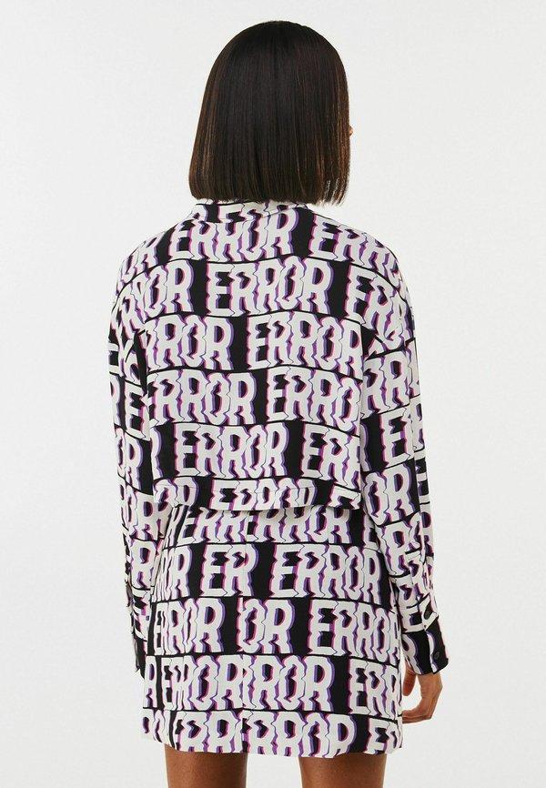 Bershka MIT PRINT - Koszula - black/czarny ZLDN