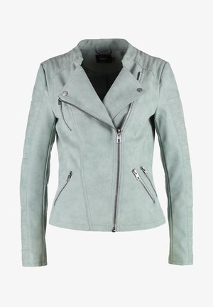 ONLAVA BIKER  - Faux leather jacket - chinois green
