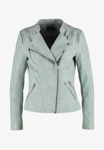 ONLAVA BIKER  - Faux leather jacket - chinois green