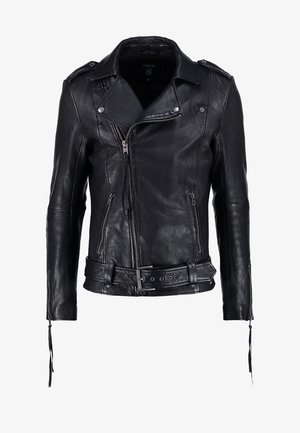 ETHAN - Leather jacket - black