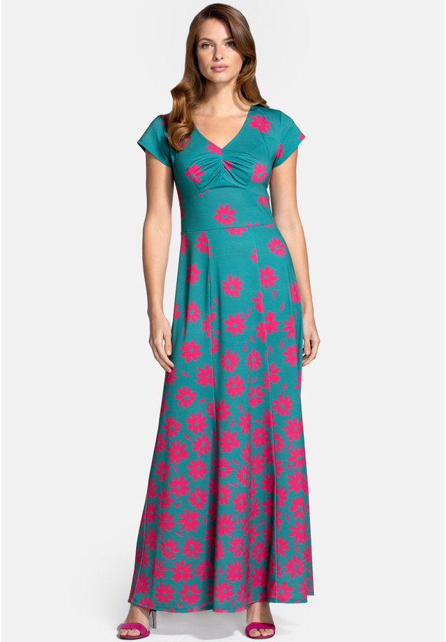 Długa sukienka - daisy placement green pink