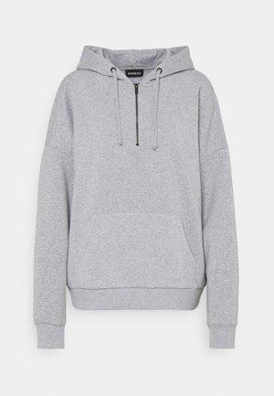 OVERSIZED HALF ZIP SWEAT  - Hoodie - mottled light grey