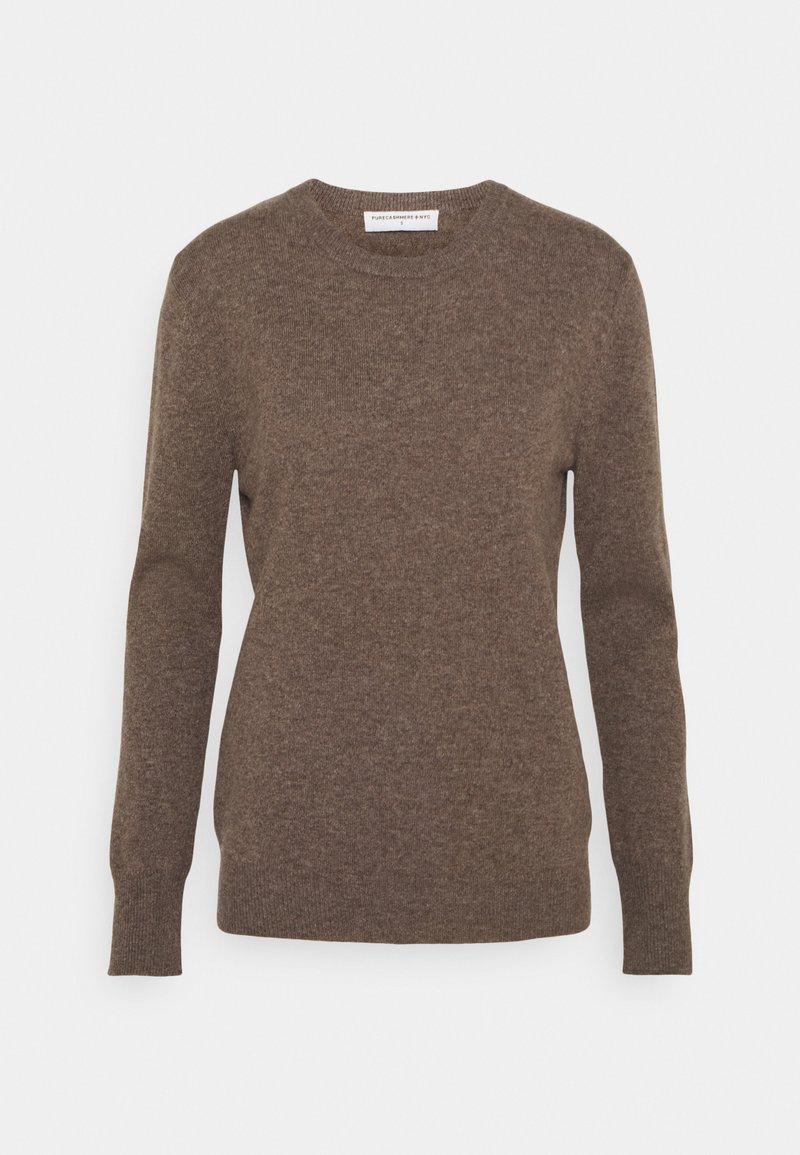 pure cashmere - CLASSIC CREW NECK  - Strikkegenser - heather brown