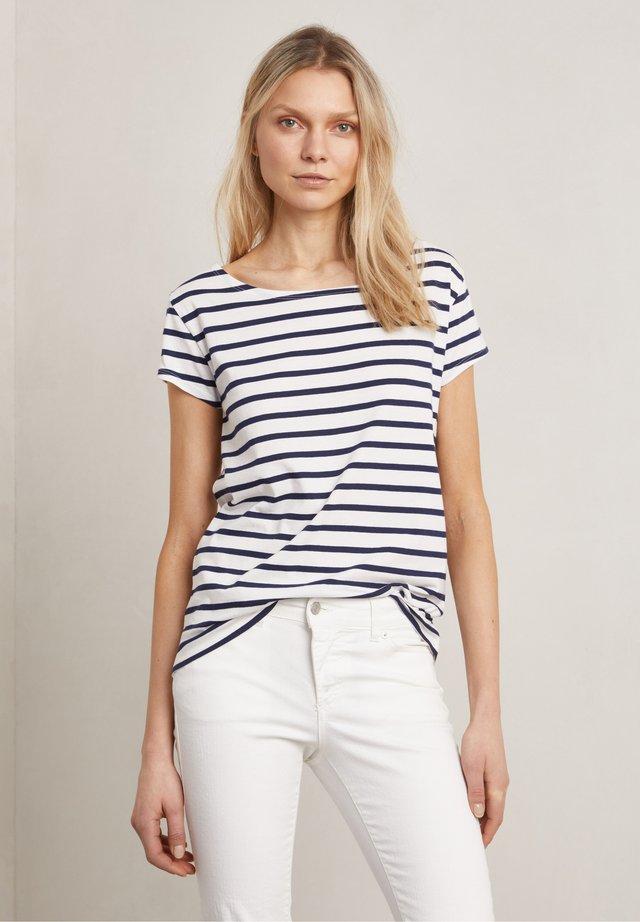 T-shirt print - o-w/true navy stripe