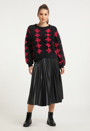 Jersey de punto - schwarz rot