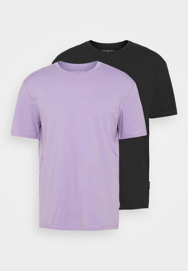 2 PACK UNISEX - T-shirt basic - purple/black