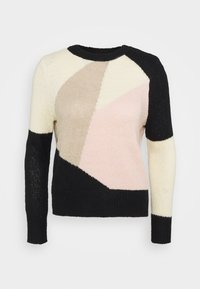 ONLY Petite - ONLMARCIL O-NECK PETIT - Jumper - black/almond milk/simply taupe/rose - 4