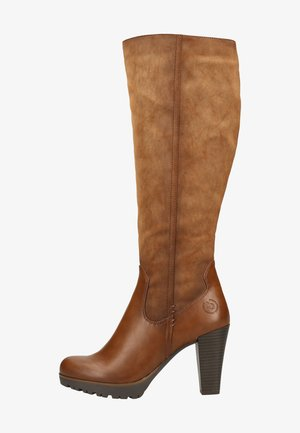 High heeled boots - cognac/cognac 6363