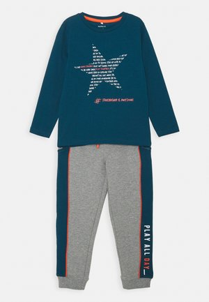 NMMLEON SET - Tracksuit - gibraltar sea/grey melnge