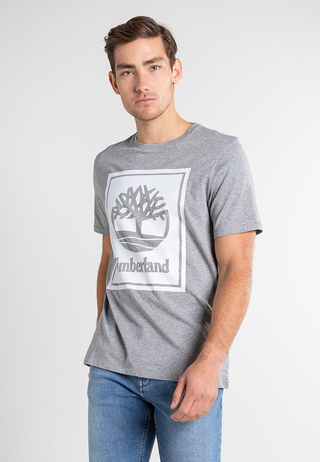 YC CORE+ SS STACK - Printtipaita - medium grey heather-white