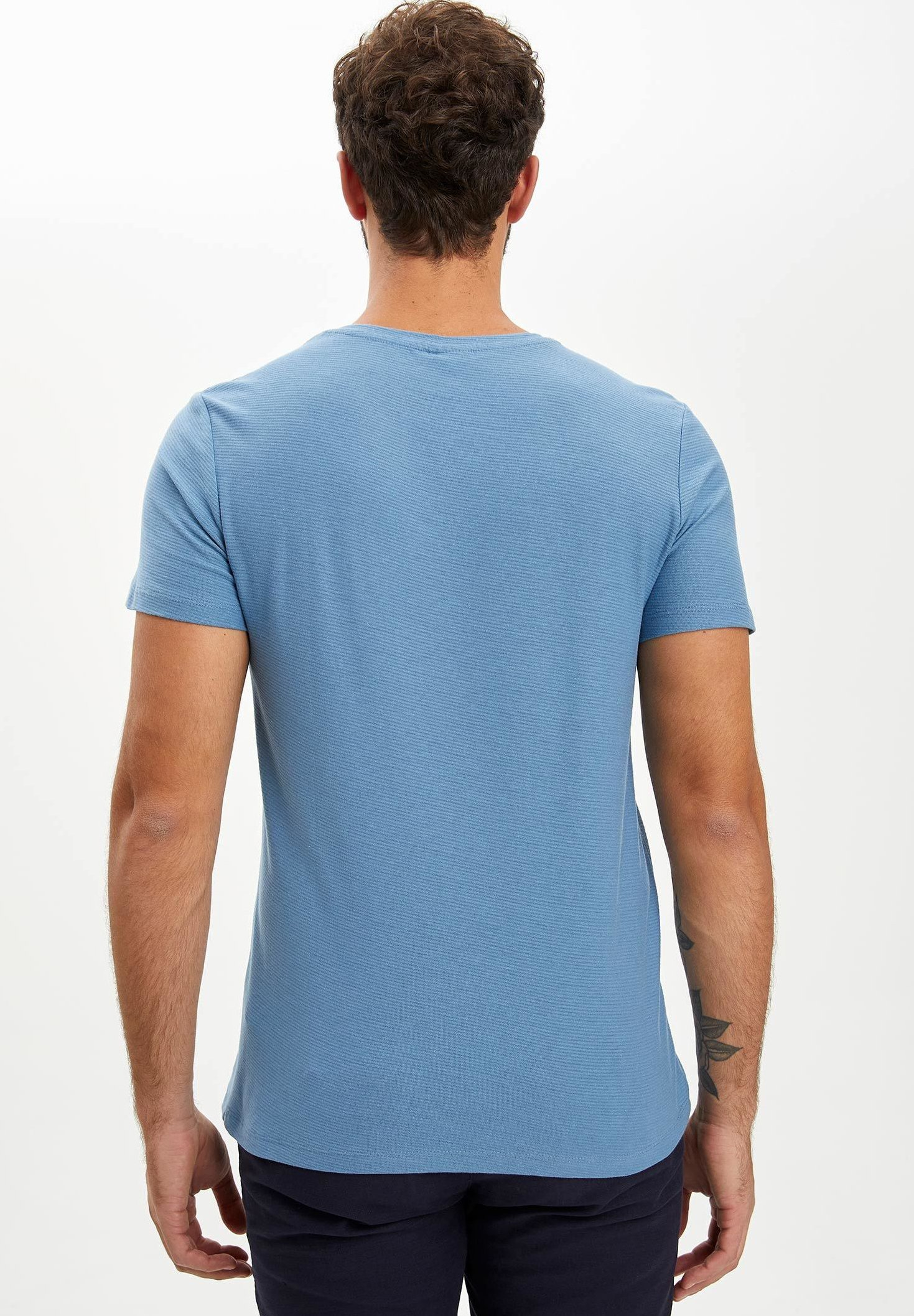 DeFacto Basic T-shirt - blue s4xTA