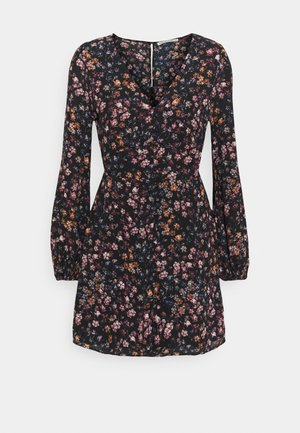 DRAMA BUTTON MINIDRESS - Vardagsklänning - black/multi