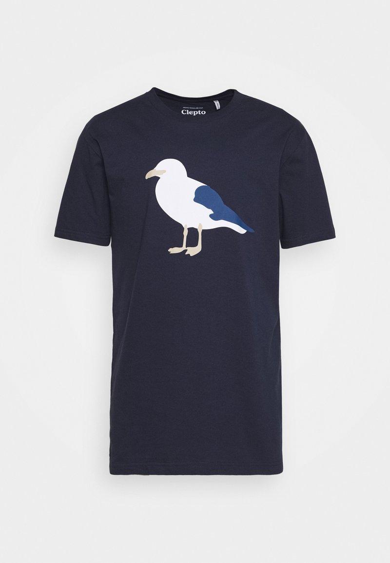 Cleptomanicx - GULL - Print T-shirt - dark navy