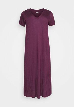 PURPLE V-NECK VISCOSE LONG NIGHTDRESS - Nattskjorte - purple