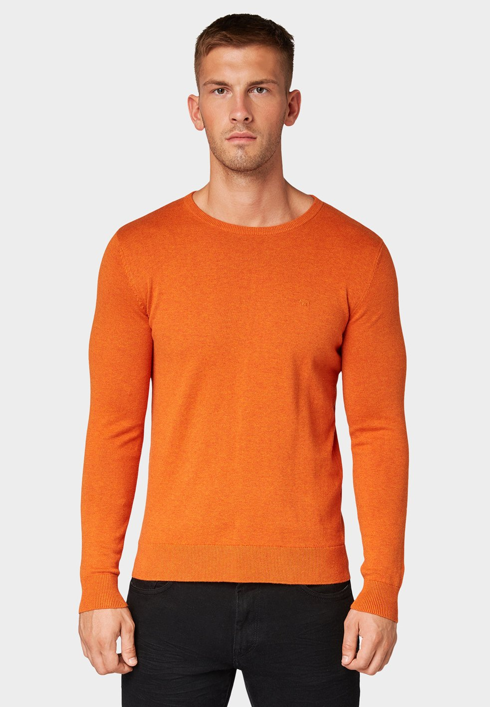 Tom Tailor Basic Crew Neck - Strickpullover Heated Orange Melange